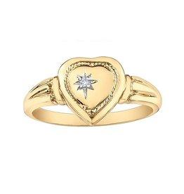10K Yellow Gold (0.01ct) Diamond Hidden I love You Heart Locket Ring