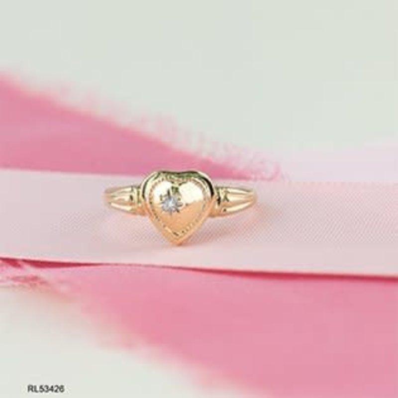 10K Yellow Gold Diamond Hidden I love You Heart Ring