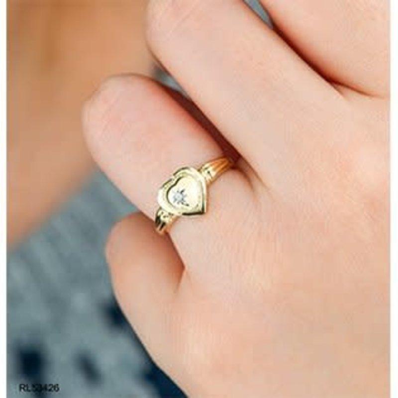 10K Yellow Gold (0.01ct) Diamond I love You Heart Locket Ring