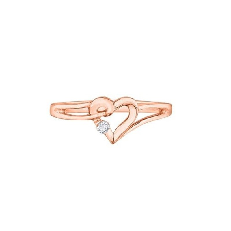 10K Rose Gold (0.03ct) Canadian Diamond Heart Ring