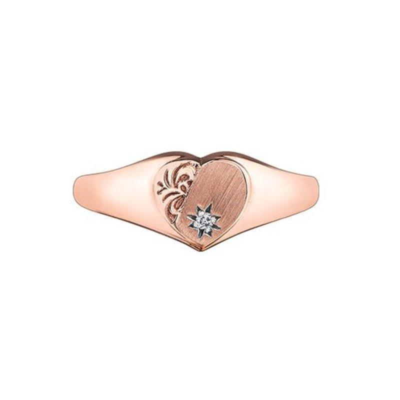 10K Rose Gold (0.01ct) Diamond Signet Heart Promise Ring