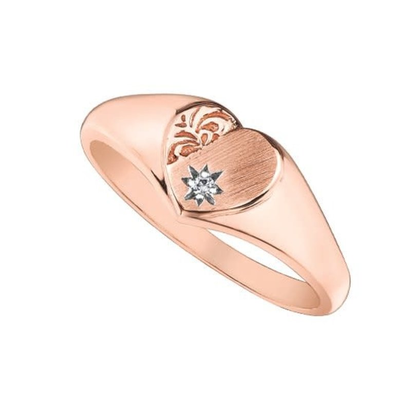 10K Rose Gold (0.01ct) Diamond Signet Heart Ring