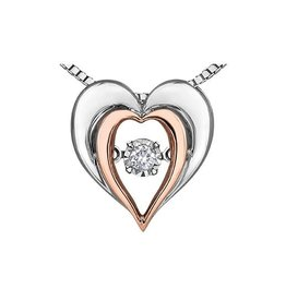 Sterling Silver and 10K Rose Gold (0.05ct) Dancing Diamond Illusion Setting Heart Pendant