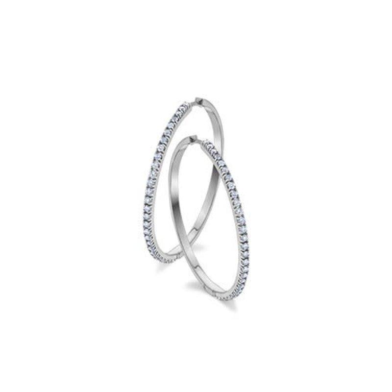 10K White Gold (1.00ct) Diamond Hoop Earrings