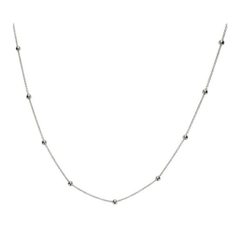 """10K White Gold (2.5mm) Rolo Beaded Necklace (16"""" - 22"""")"""