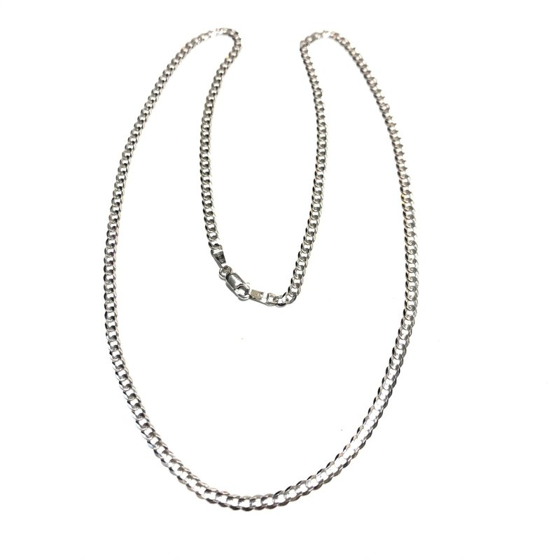 "10K White Gold (3mm) Curb Chain (20"" - 24"")"