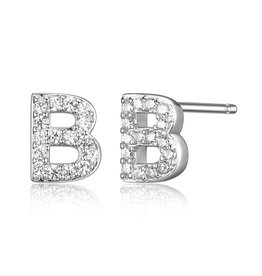 Sterling Silver Rhodium Plated CZ Initial B Stud Earrings