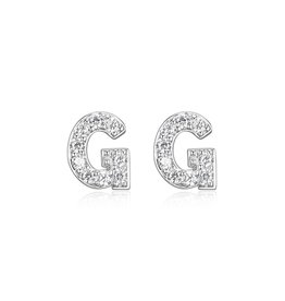 Sterling Silver Rhodium Plated CZ Initial G Stud Earrings