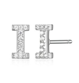 Sterling Silver Rhodium Plated CZ Initial I Stud Earrings