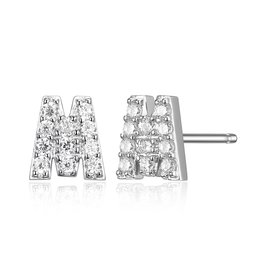 Sterling Silver Rhodium Plated CZ Initial M Stud Earrings