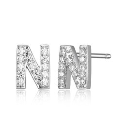 Sterling Silver Rhodium Plated CZ Initial N Stud Earrings