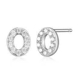 Sterling Silver Rhodium Plated CZ Initial O Stud Earrings