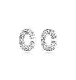 Sterling Silver Rhodium Plated CZ Initial C Stud Earrings
