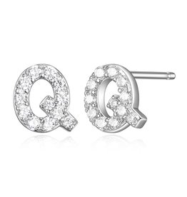 Sterling Silver Rhodium Plated CZ Initial Q Stud Earrings