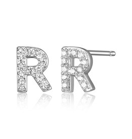 Sterling Silver Rhodium Plated CZ Initial R Stud Earrings