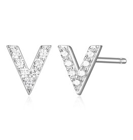 Sterling Silver Rhodium Plated CZ Initial V Stud Earrings