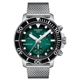 Tissot Seastar 1000 Chronograh Men's Silver Tone Green Dial Mesh Strap Watch
