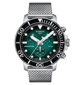 Tissot Tissot Seastar 1000 Chronograh Men's Silver Tone Green Dial Mesh Strap Watch