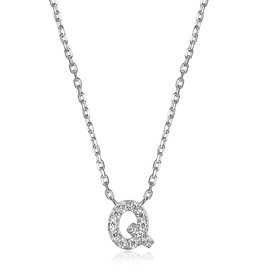 Sterling Silver Rhodium Plated CZ Initial Q Necklace