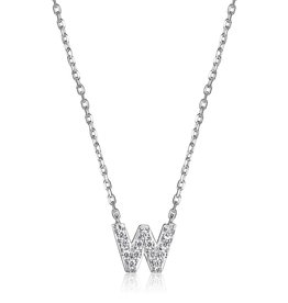 Sterling Silver Rhodium Plated CZ Initial W Necklace