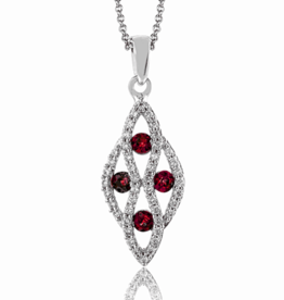 14K White Gold Diamond Ruby Geometric Pendant