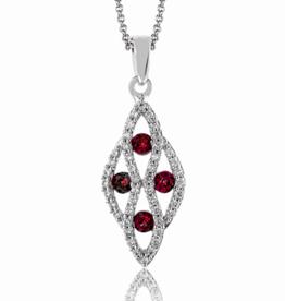 14K White Gold Ruby and Diamonds Zeghani Pendant
