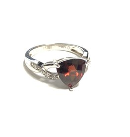 14K White Gold Trillion Garnet and Diamond Ring