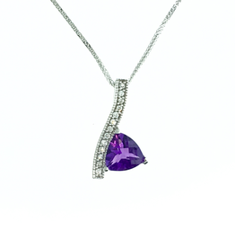 14K White Gold Amethyst and Diamond Pendant