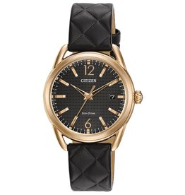 Citizen Citizen Drive Ladies Eco Drive Rose Tone Black Dial Black Leather Strap Watch