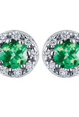 10K White Gold Emerald & Diamond Halo Stud Earrings