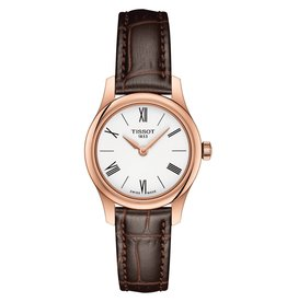 Tissot Tissot Tradition 5.5 Lady Rose Tone Brown Leather Strap Watch