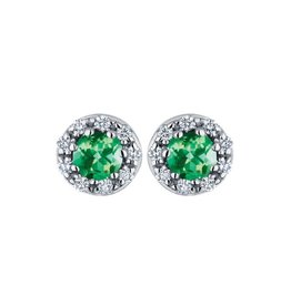 10K White Gold Emerald & Diamond Halo Stud Earrings