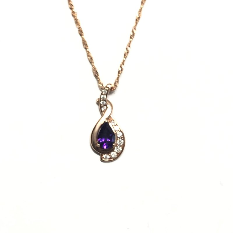10K Rose Gold Amethyst and Diamond Pendant