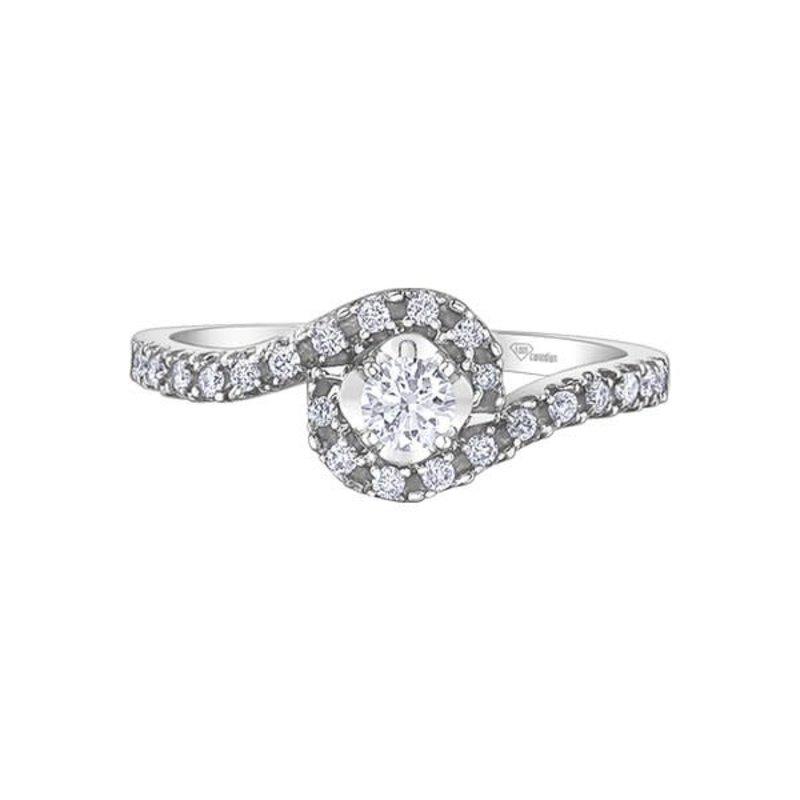 Maple Leaf Diamonds 10K White Gold Maple Leaf (0.35ct) Canadian Diamond Halo Engagement Ring
