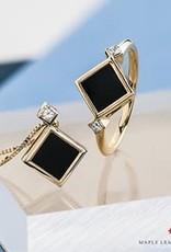 Maple Leaf Diamonds 10K Yellow Gold Black Onyx and Canadian Diamond Pendant