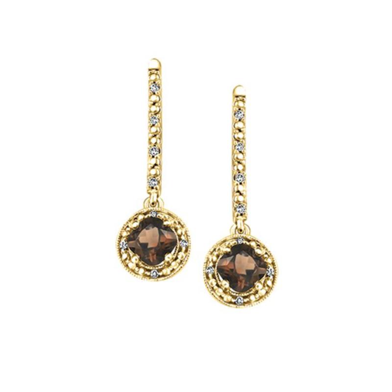 10K White Gold Smokey Quartz Diamond Drop Earrings