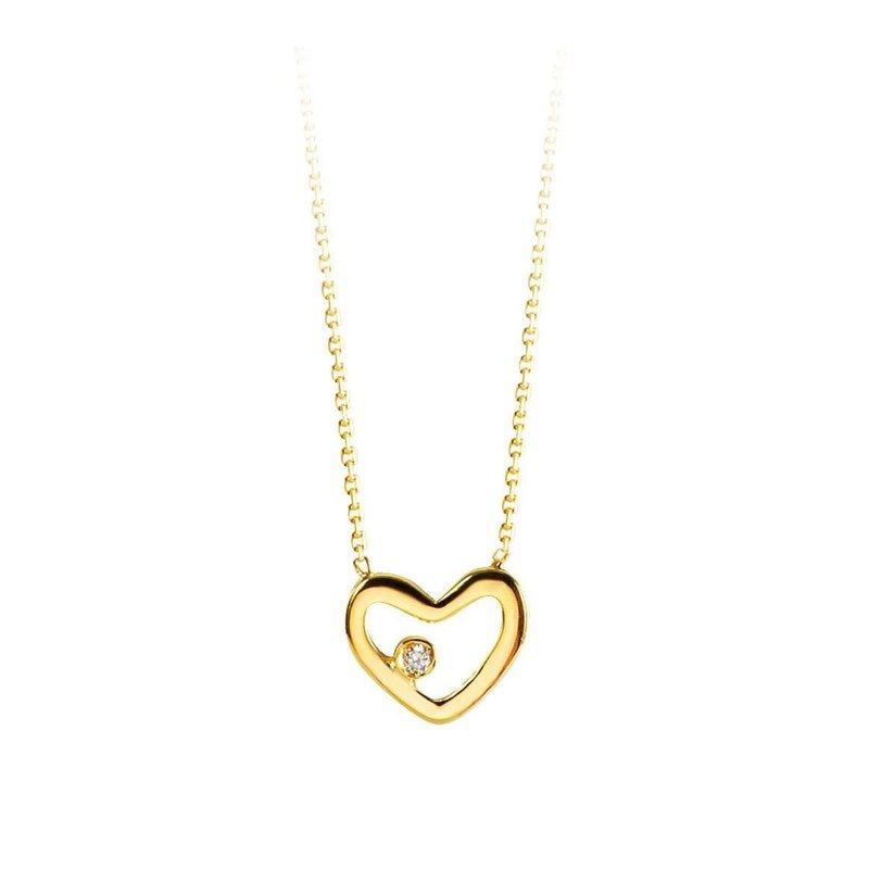10K Yellow Gold (0.01ct) Diamond Heart Necklace