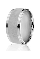 10K White Gold (10mm) Textured Centre Men's Band SZ-10.5