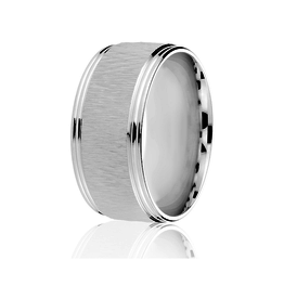 10K White Gold (10mm) Textured Centre Men's Band SZ-10.5