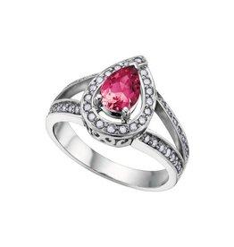 14K White Gold Pear Shape Pink Tourmaline and Diamonds Ring