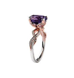 10K White and Rose Gold Amethyst and Diamond Ring