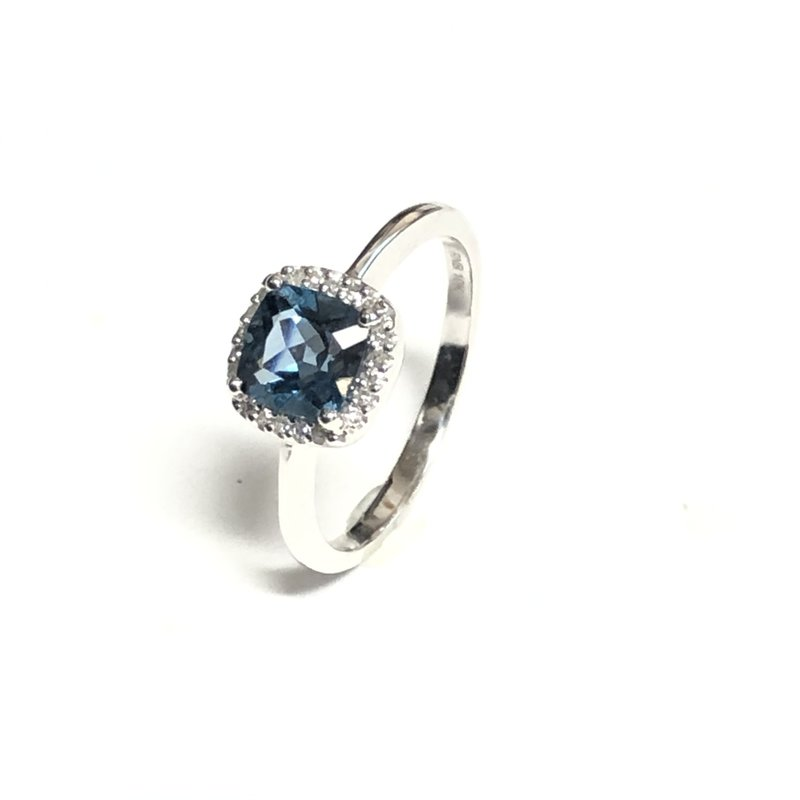 10K White Gold Halo Blue Topaz and Diamond Ring