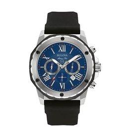 Bulova Bulova Marine Star Men's Chronograph Silver Tone Blue Dial Black Rubber Strap Watch