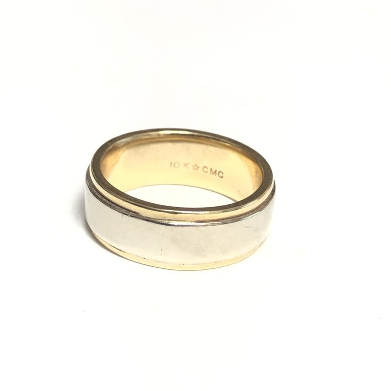 10K Yellow and White Gold (7mm) Ladies Wedding Band