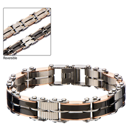 Inox Stainless Steel Black and Rose Gold Plated Reversible Link Bracelet