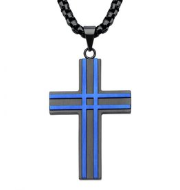 Inox Inox Stainless Steel Matte Finish Black and Blue Plated Cross Necklace