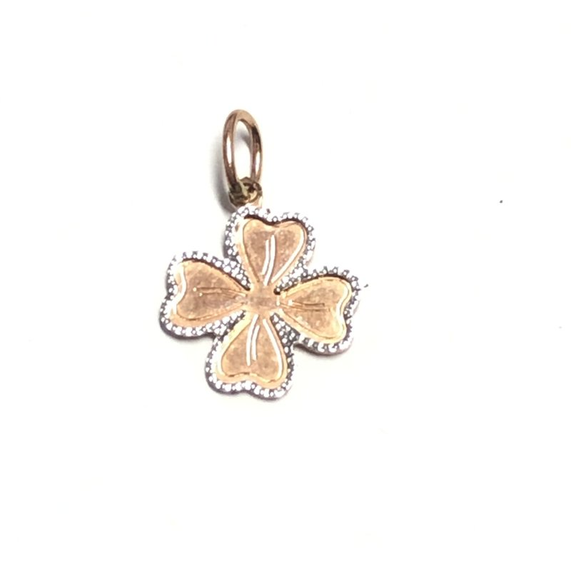 10K Rose and White Gold Four Leaf Clover Pendant