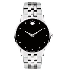 Movado Museum Classic Men's Silver Tone Diamond and Black Dial Watch