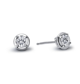 Lafonn Lafonn Sterling Silver Platinum Plated Bezel Set Simulated Diamond Stud Earrings