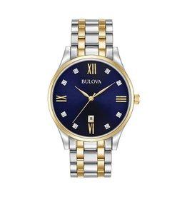 Bulova Classic Men's Two Tone Diamond and Blue Dial Watch